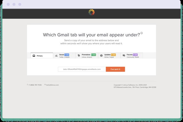 Screenshot of the Gmail tab checker tool by Litmus