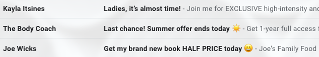 Screenshot of subject lines in the Gmail spam folder