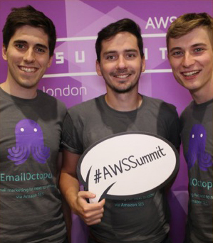 Tom Evans and the EmailOctopus founders at the AWS Summit