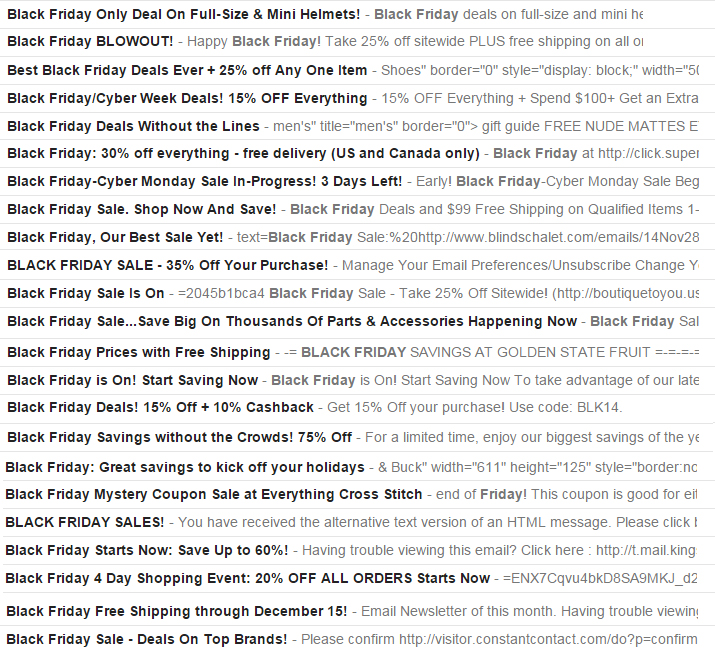 Screenshot of Black Friday emails and their subject lines looking near identical