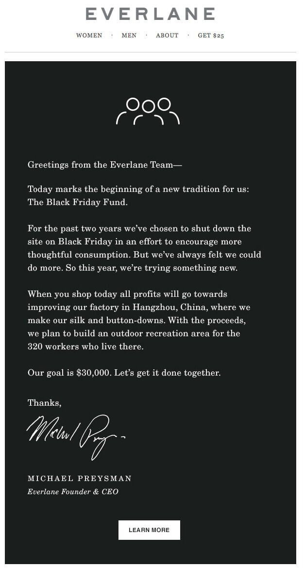 An example of an alternative Black Friday email sent by clothing brand Everlane