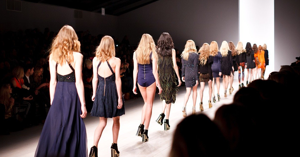 Models on a catwalk