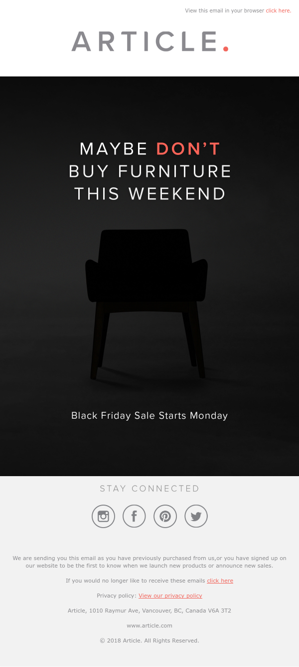 Black Friday campaign from Article