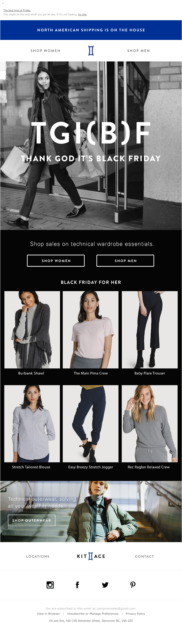 Black Friday email campaign from Kit and Ace