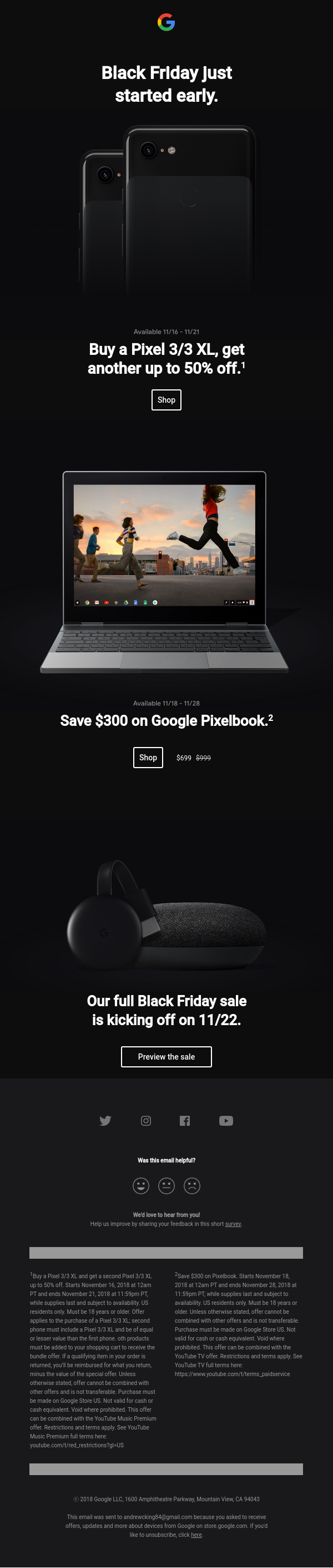 Black Friday email campaign from Google