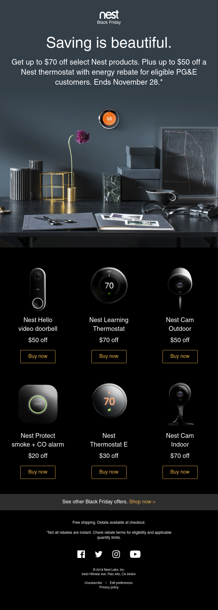 Black Friday email campaign from Nest