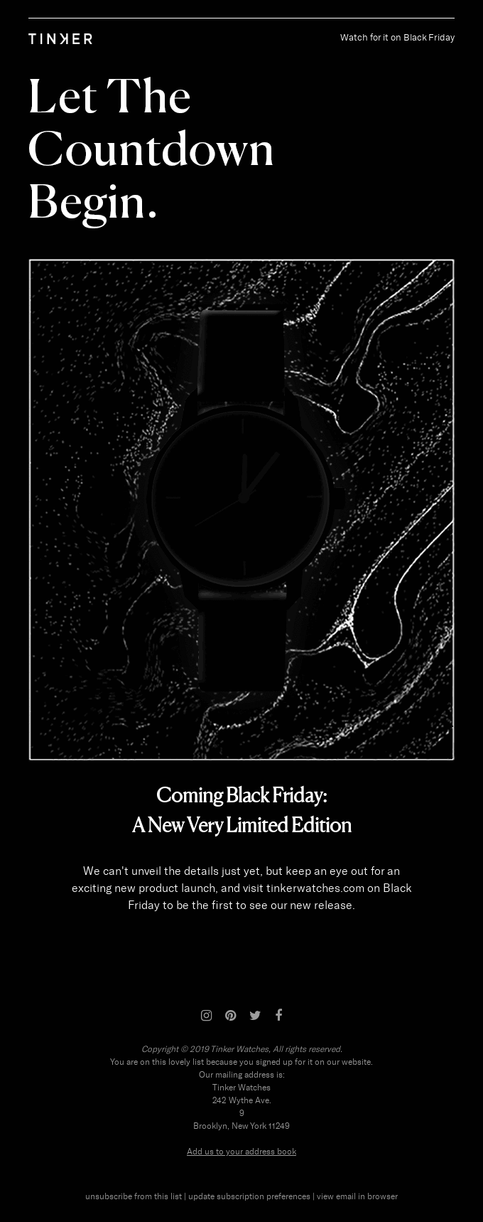 Example of a Black Friday email from Tinker Watches