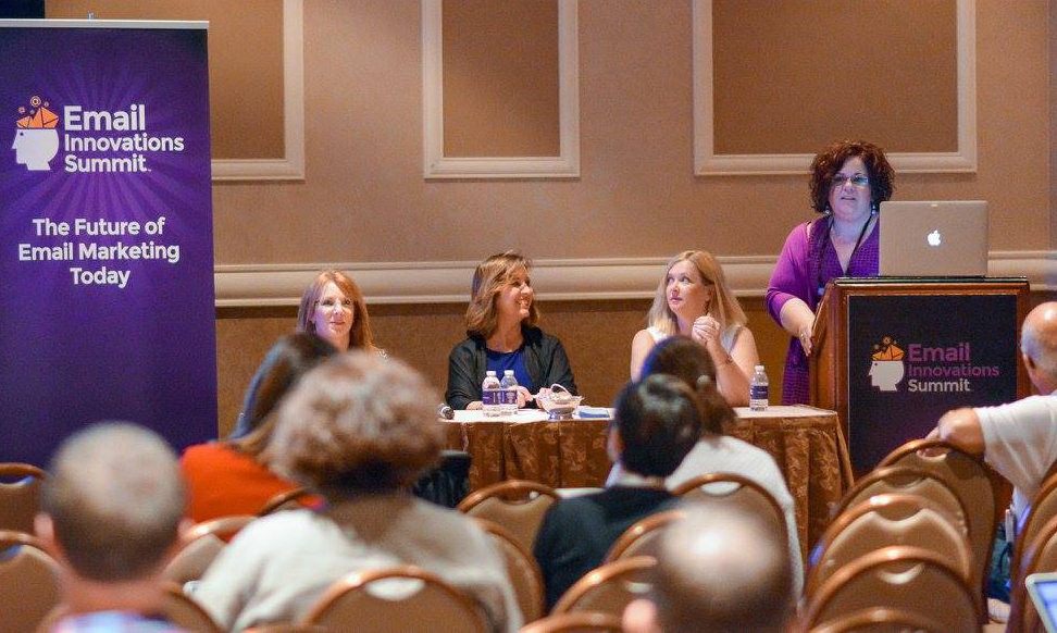 Jeanne Jennings and fellow female speakers talking at the Email Innovations Summit