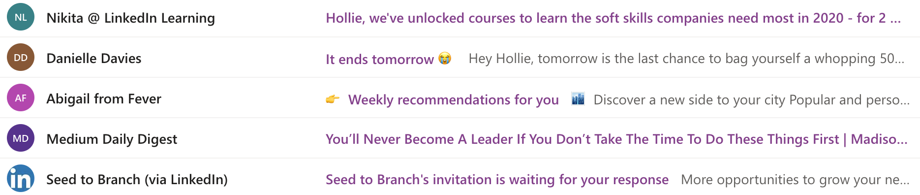 Image showing examples of subject lines in an inbox, some containing emojis and some plain text