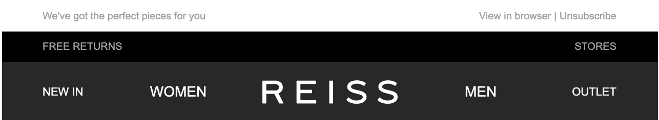 Example of a header in a marketing email from fashion label Reiss with navigation links