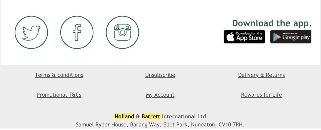 Example of a footer used in a marketing email from Holland and Barrett