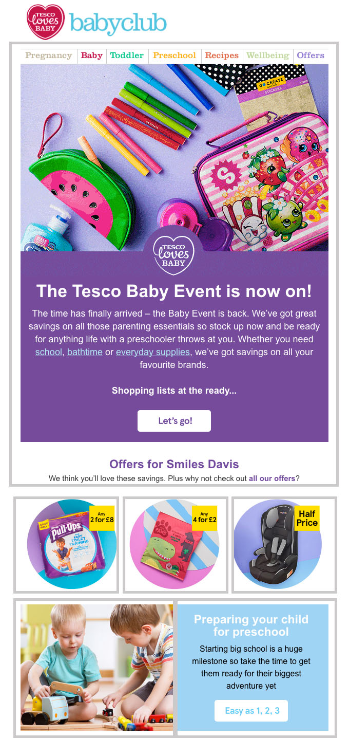 Example of an email using the hybrid layout in its design