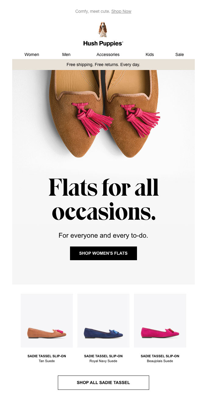 Hush Puppies email demonstrating how to use colour to distinguish between your primary and secondary CTAs