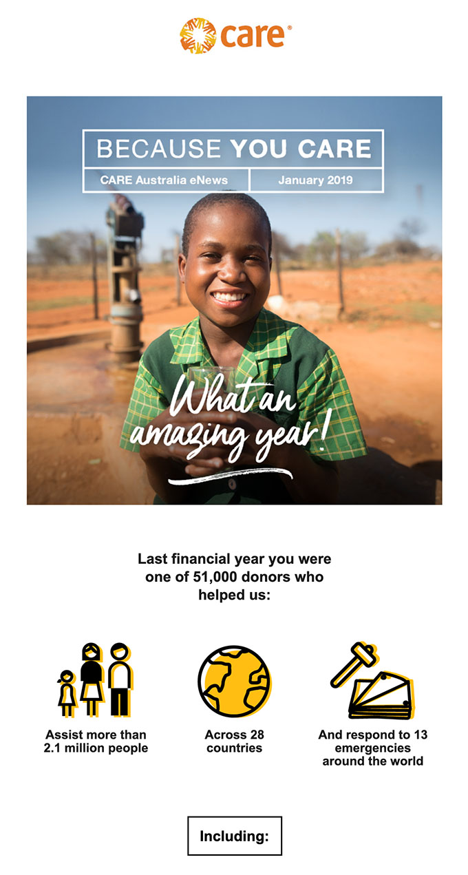 Example of a strong hero image used in an email design by Australian charity CARE
