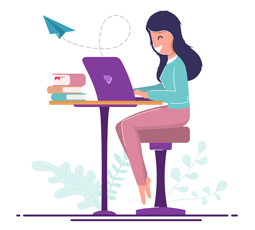 Illustration of a woman happily working from home