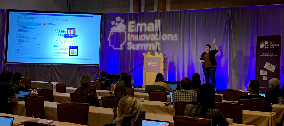 Leah Miranda speaking at the Email Innovations Summit