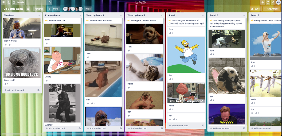 Screenshot of our GIF battle board on Trello after the game - a quick and easy way to have some fun at work as a remote team