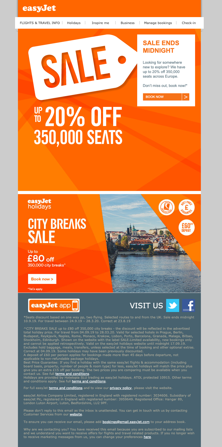 Example of an email from EasyJet using strong brand colours