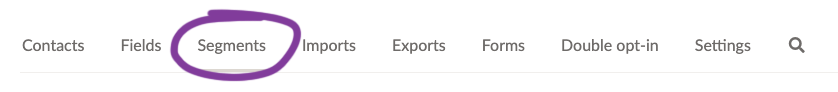 Screenshot of the Segments tab in your EmailOctopus dashboard.