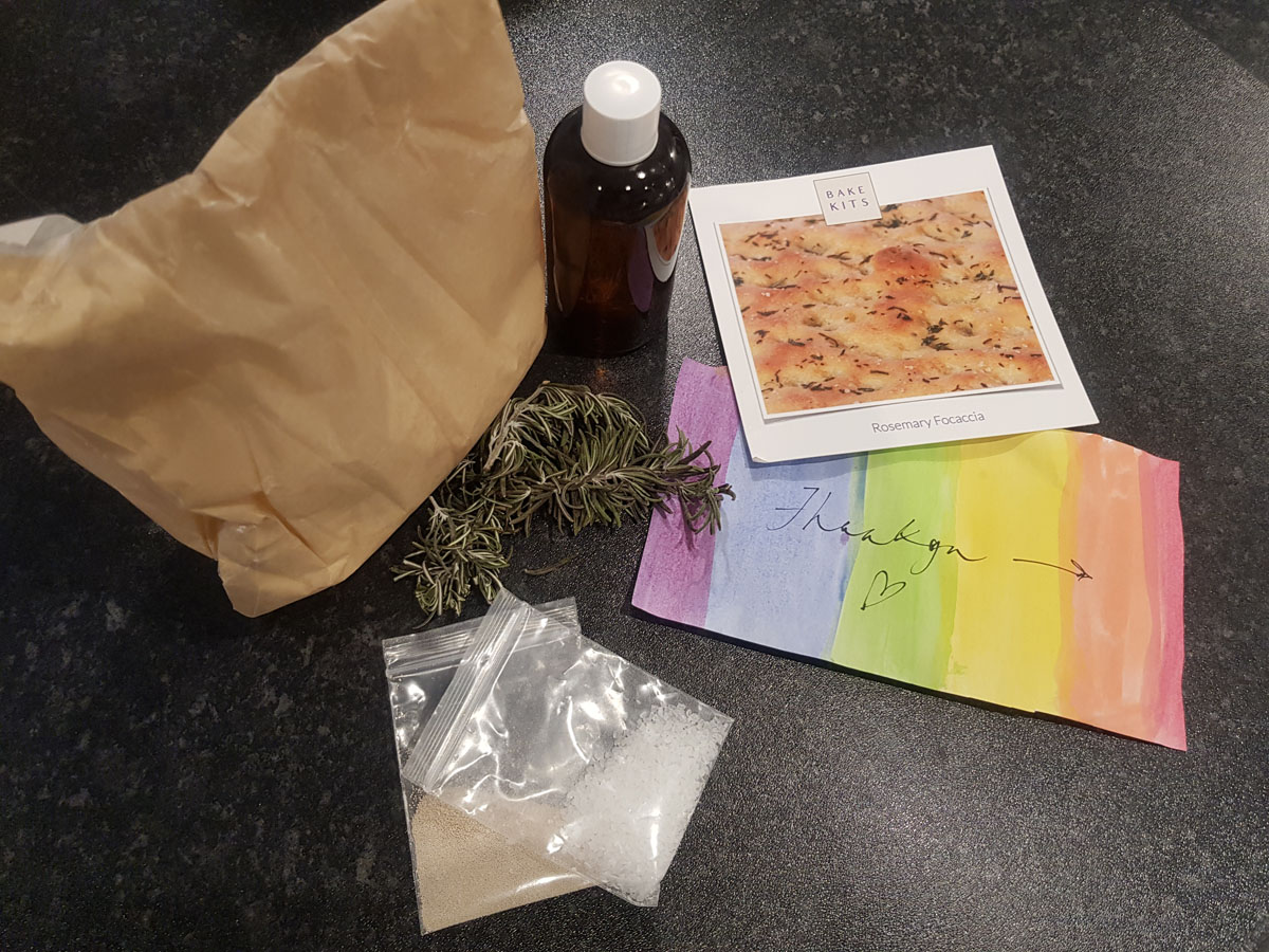 The hand-packaged focaccia bake kit with all the non-perishable ingredients you need