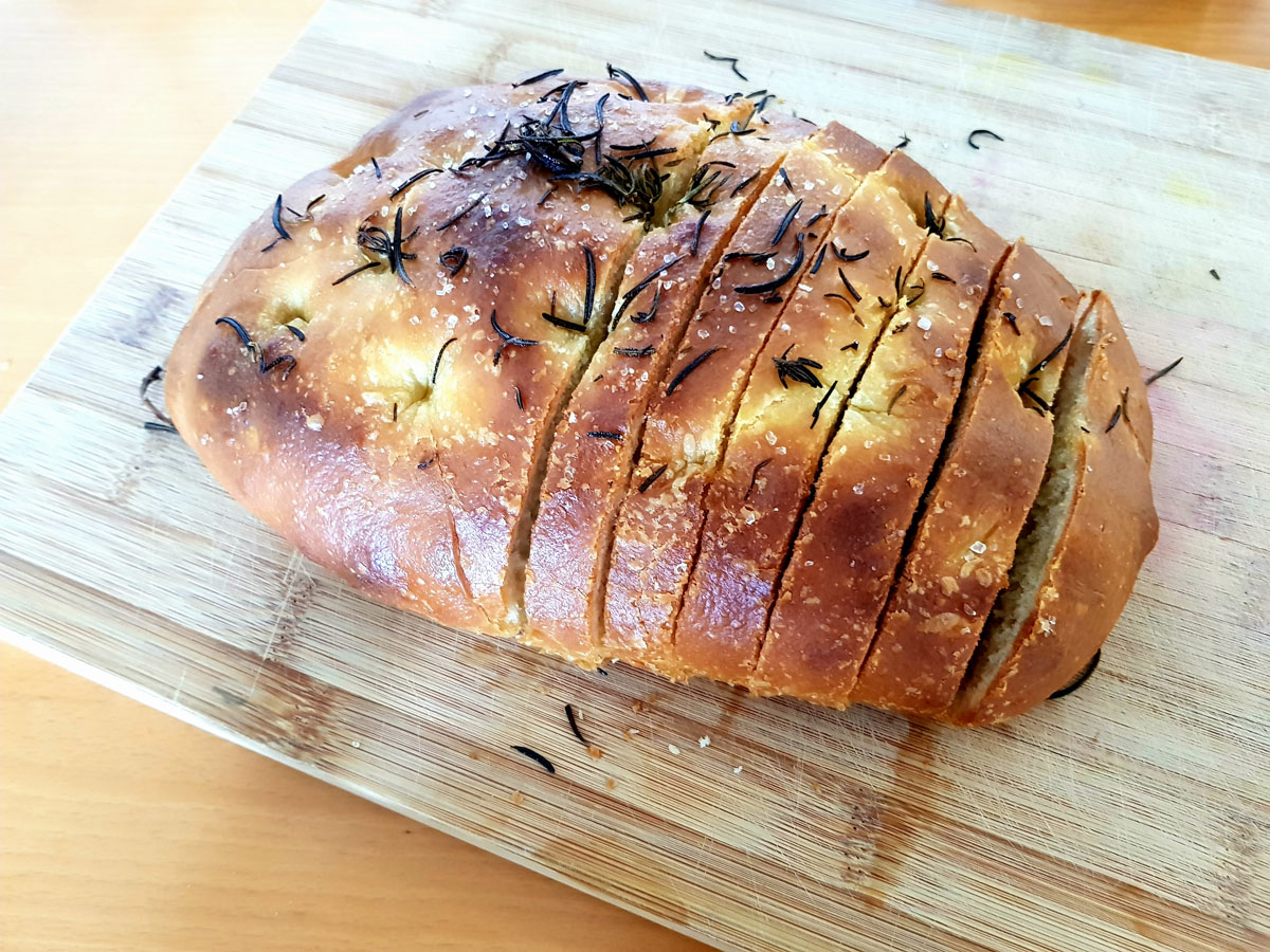 The focaccia made using the bake kit