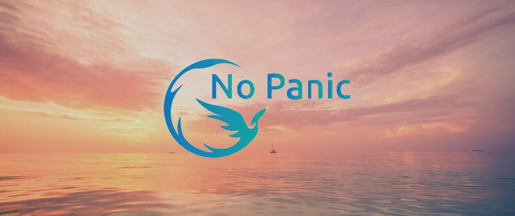 No Panic logo on image of a calm sky and sea landscape