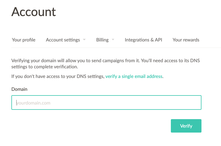 Screenshot of your account settings in EmailOctopus where you can verify your domain