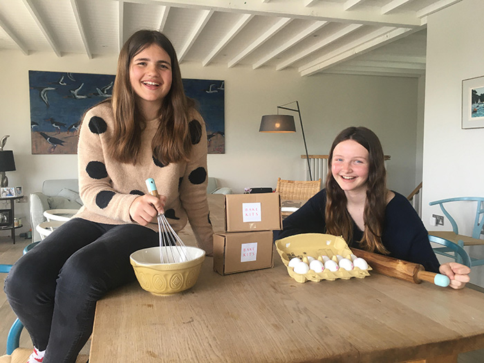 Eliza and Rose from BakeKits in their family kitchen