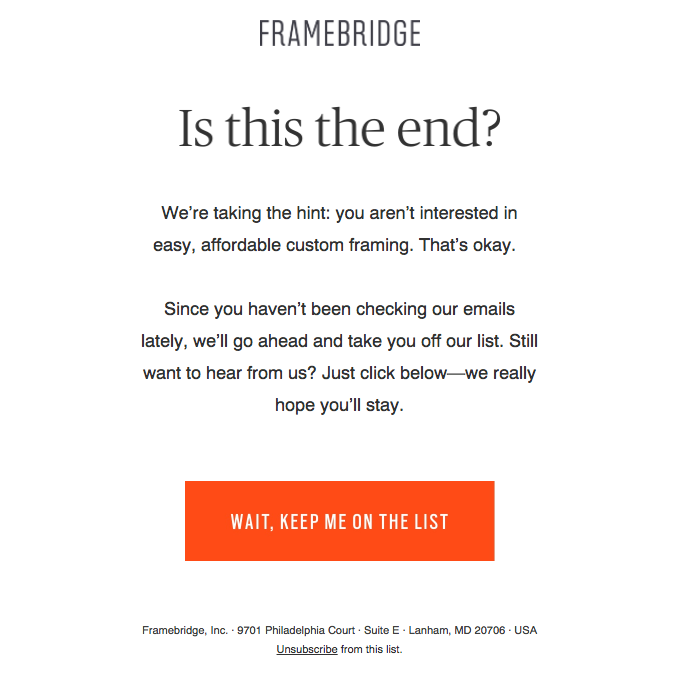 Example of a re-engagement email from Framebridge