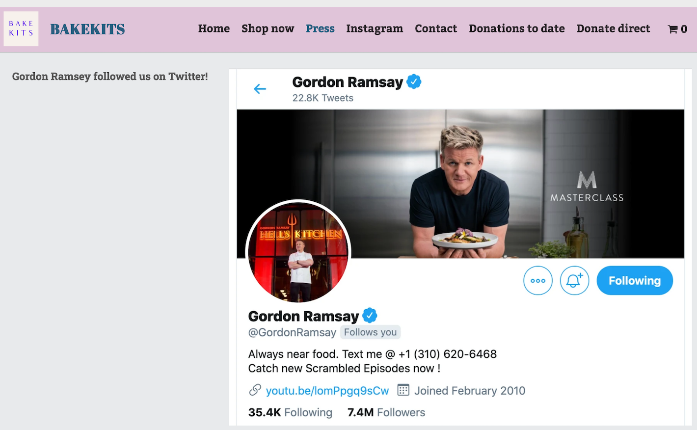 Image from BakeKits' website, promoting Gordon Ramsey following them on Twitter.