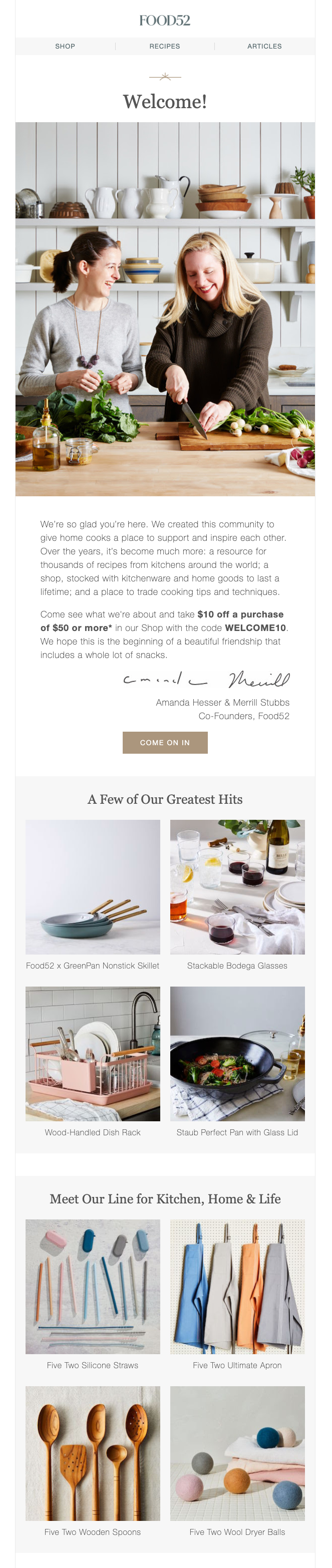 Welcome email from food blog and ecommerce website Food52