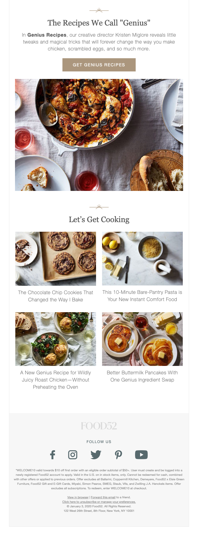 Second half of welcome email from food blog and ecommerce website Food52