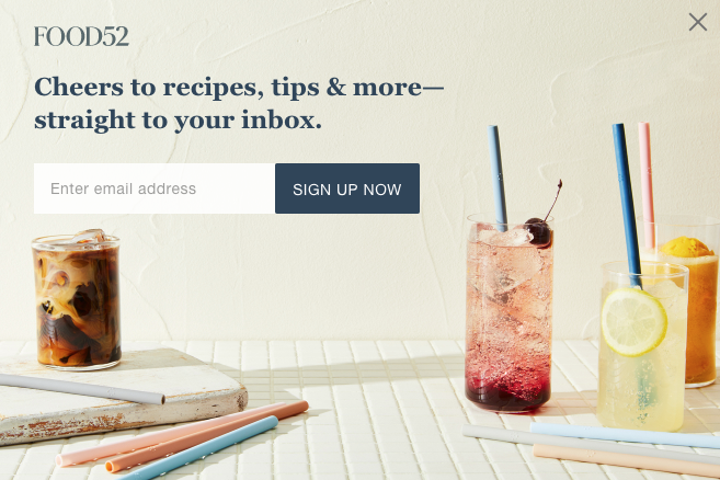 Floating sign-up form displayed on the homepage of Food52