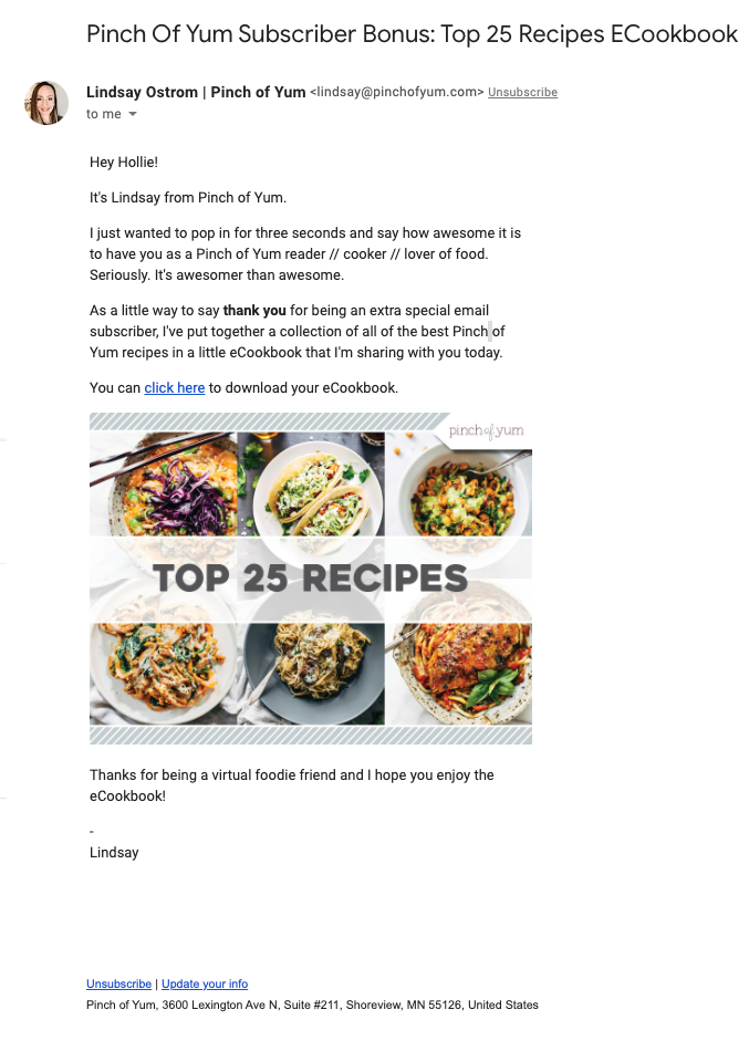 Welcome email from food blog Pinch of Yum