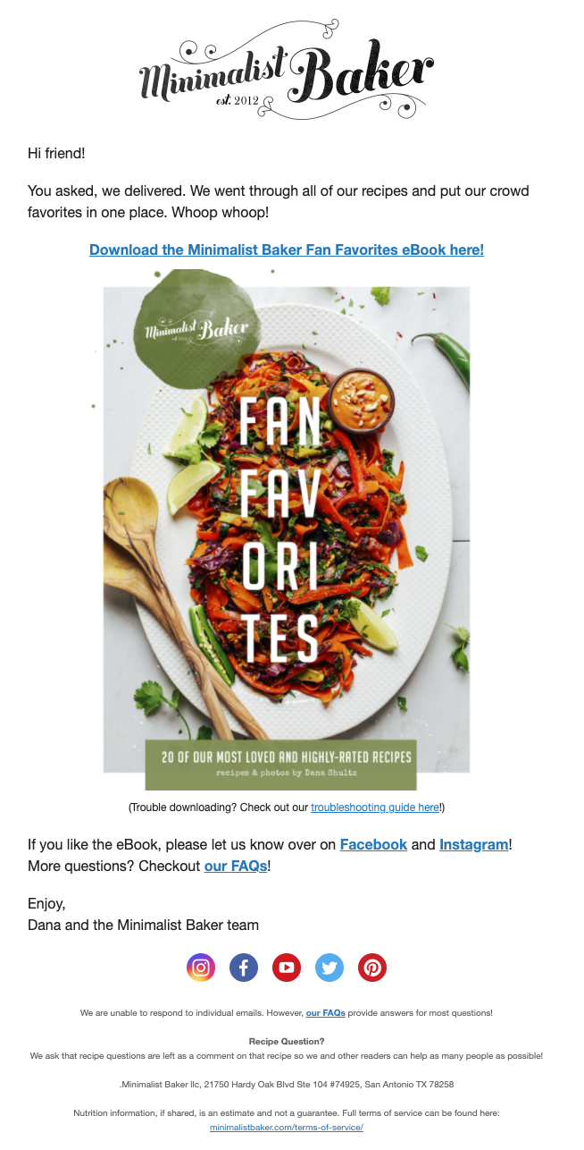 Welcome email from food blogger Minimalist Baker