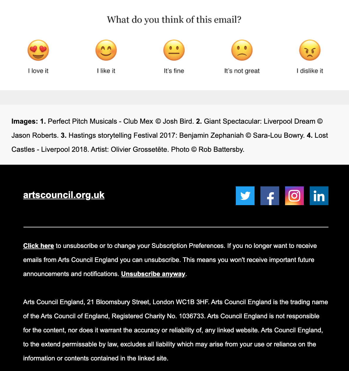 The final part of ACE's welcome email  features an embedded survey asking readers to rate the email. It also includes links to their social media platforms.