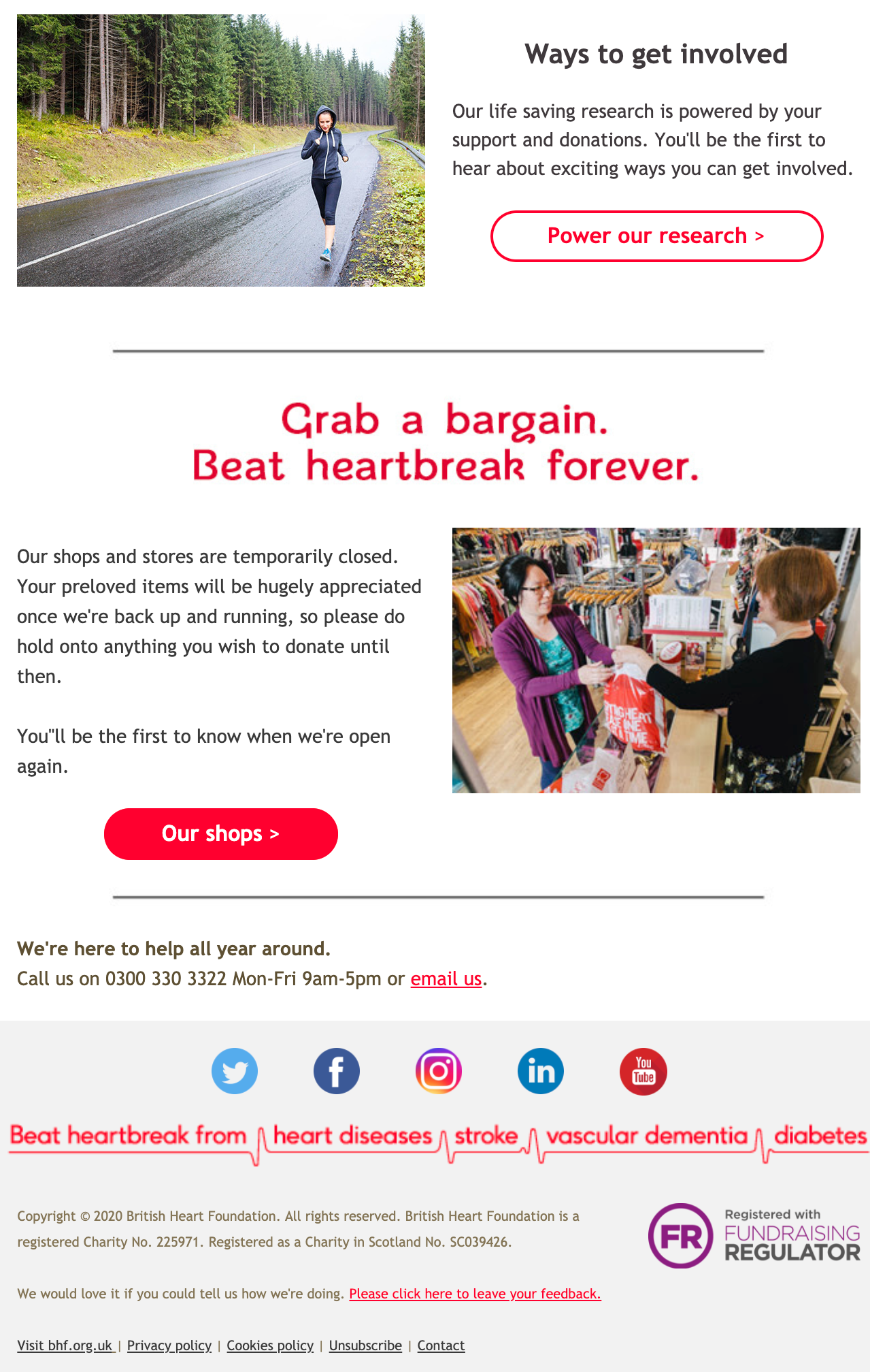Image of the second half of the BHF's welcome email. This part provides more information on the organisation's donation stores and provides links to their social media platforms.