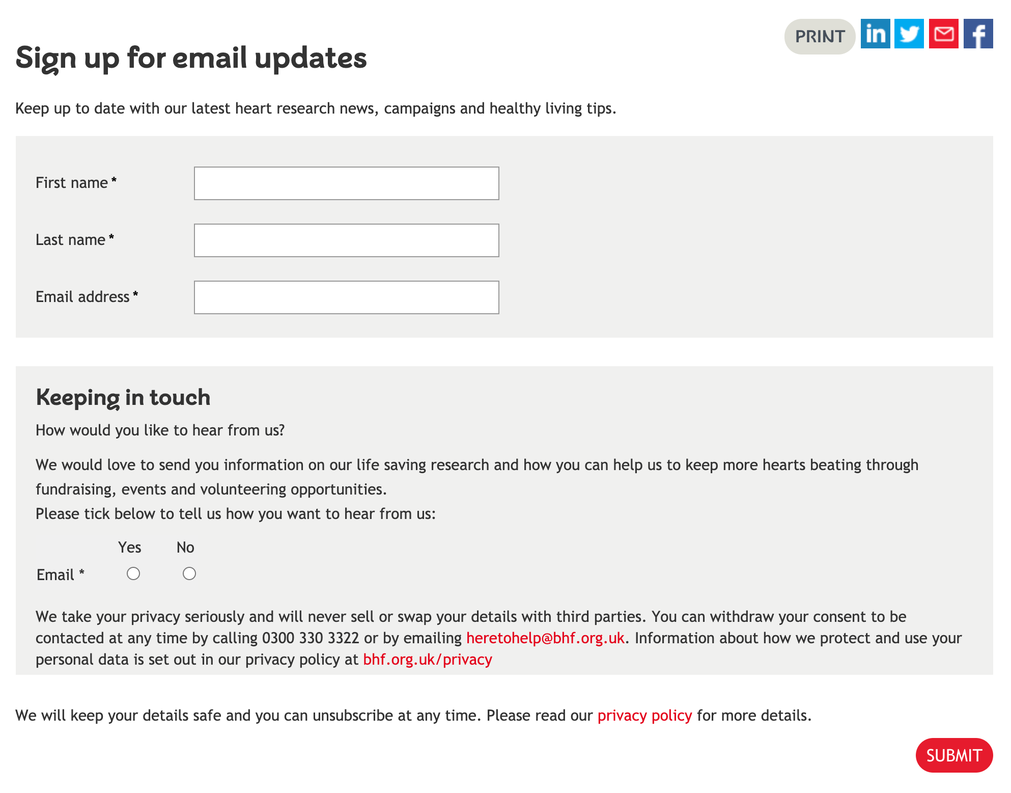 Image of British Heart Foundation's sign-up form for email updates. It also shows the BHF's double opt-in process.