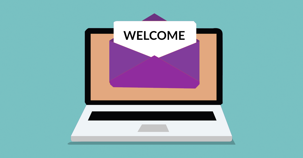 Illustration showing a welcome email in front of a laptop