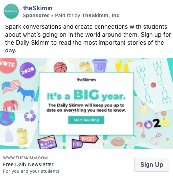 An example of a Facebook ad promoting The Skimm newsletter. This helps build your subscriber count and solve the common email marketing problem of slow mailing list growth.