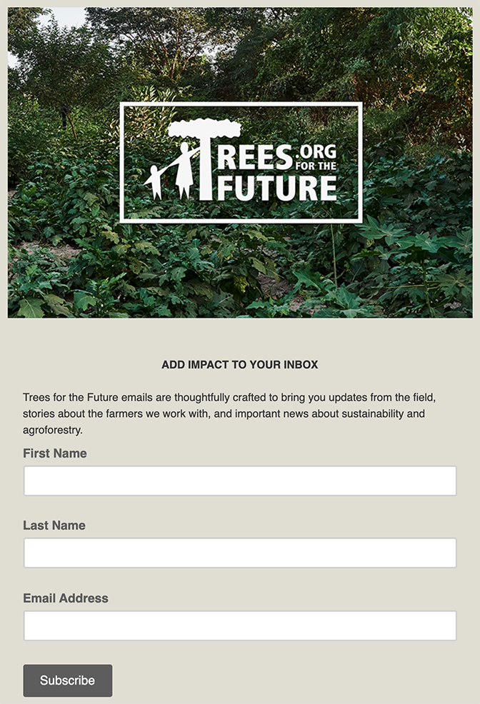 Image of Trees for the Future email updates sign-up form.