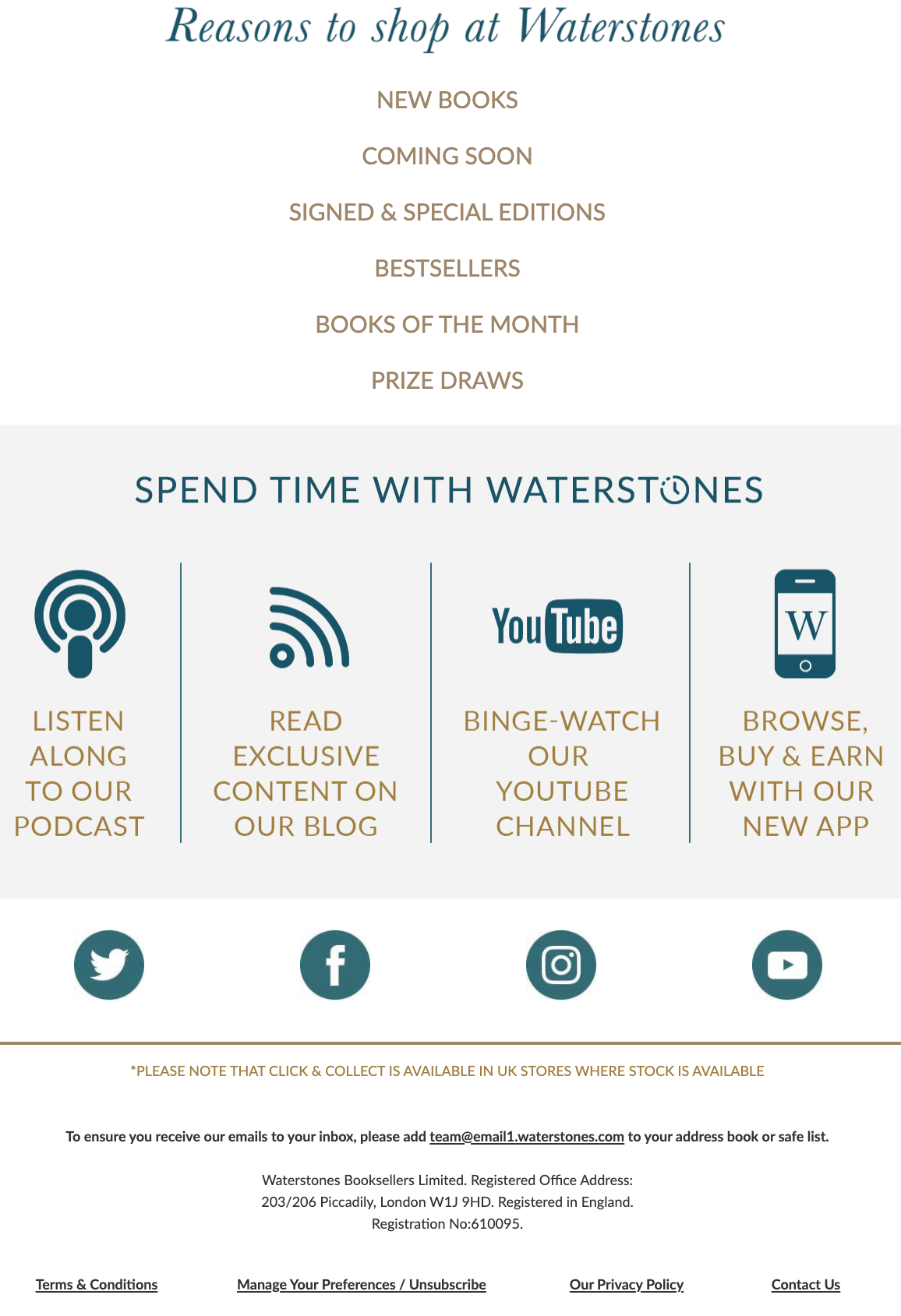 Image of an email campaign by Waterstones with links to their social media in the footer.