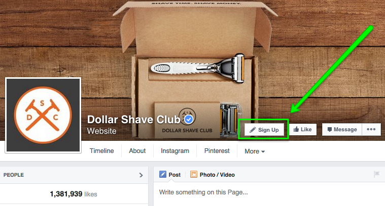 An image of Dollar Shave Club using an action button on social media to encourage visitors to sign-up to their mailing list. This is one way social media can be integrated with email marketing.