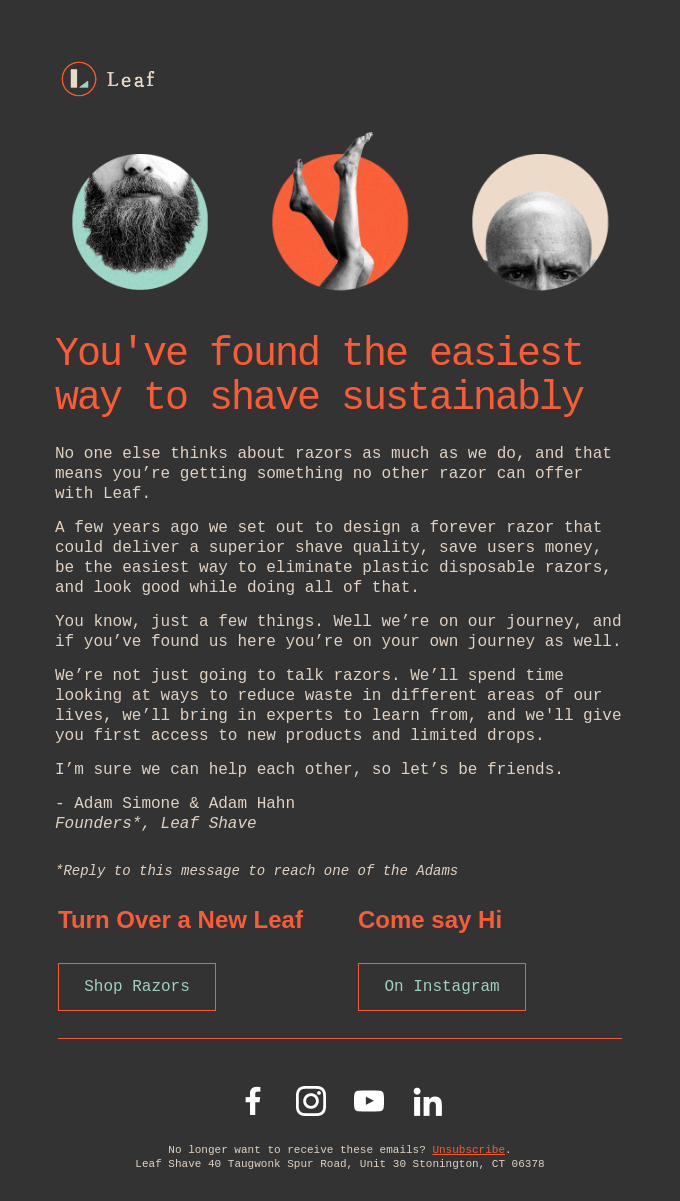 Example from Leaf Shave showing how you can tell your story in a welcome email
