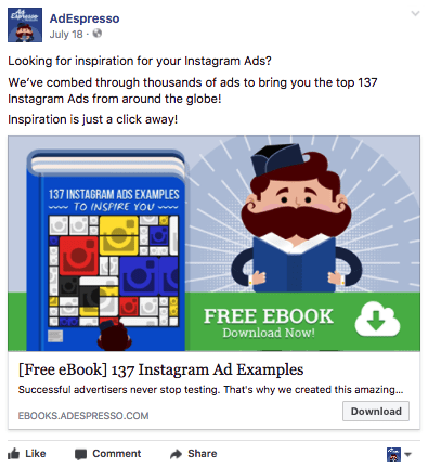 A screenshot of an ad by AdEspresso using a free ebook as a lead magnet on Facebook to gain sign-ups.