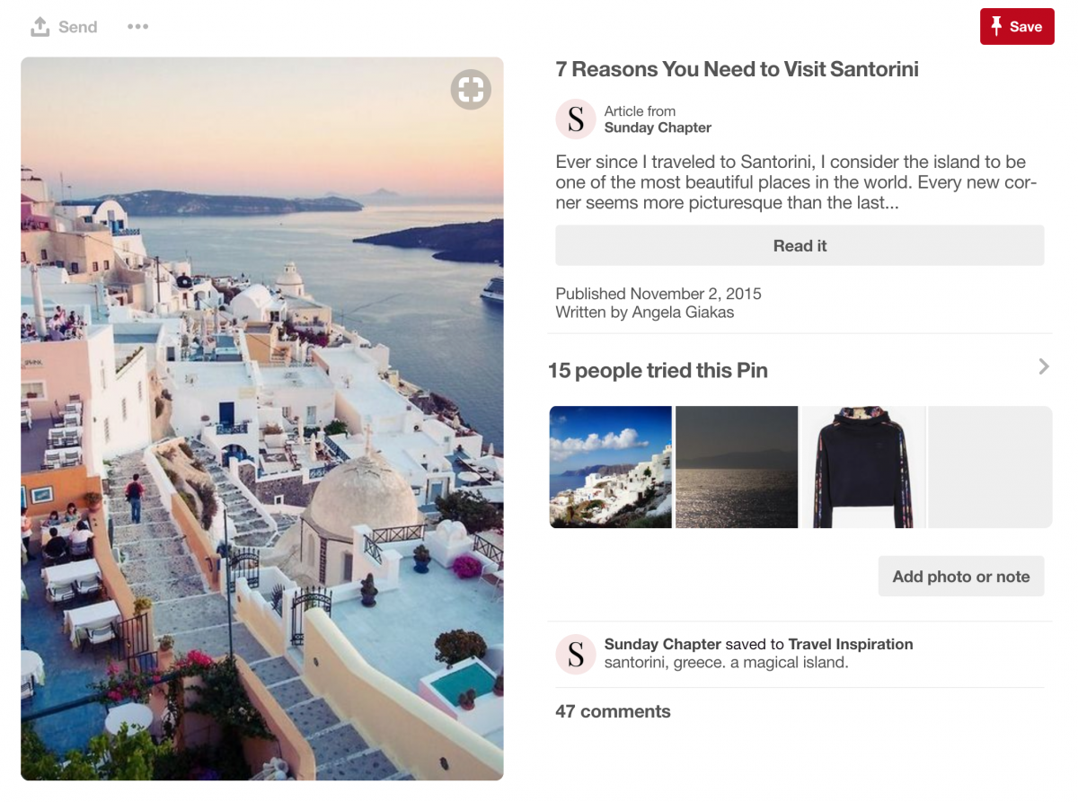 Screenshot of an Pinterest post entitled 7 Reasons You Need to Visit Santorini.