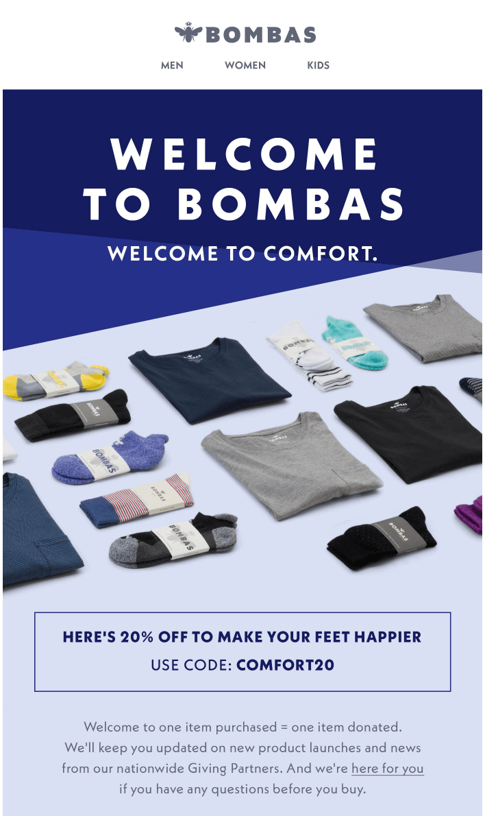 Example of a welcome email from Bombas who provide new subscribers with an exclusive welcome discount