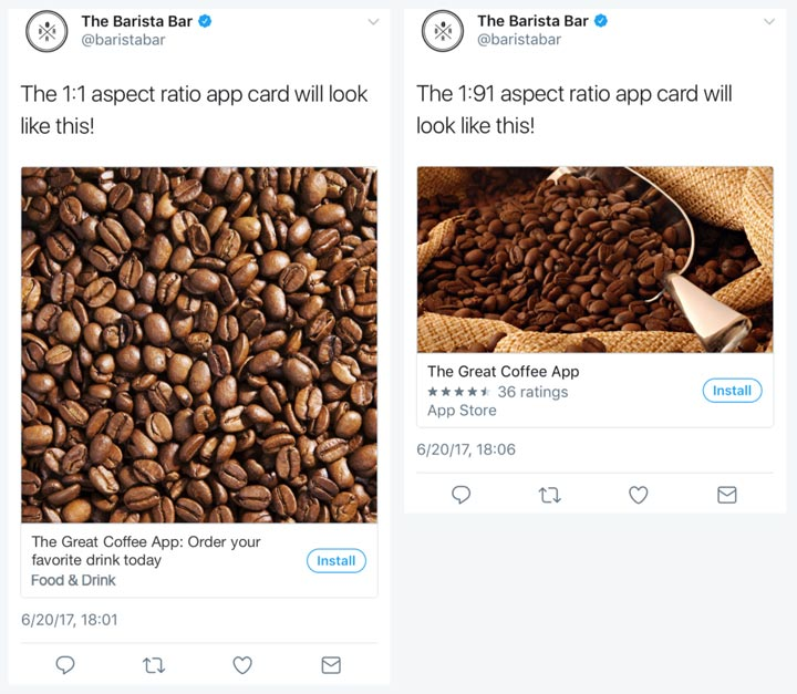 Image of Twitter Cards by Barista Bar. They show how you can use advertisements on social media to promote your business.