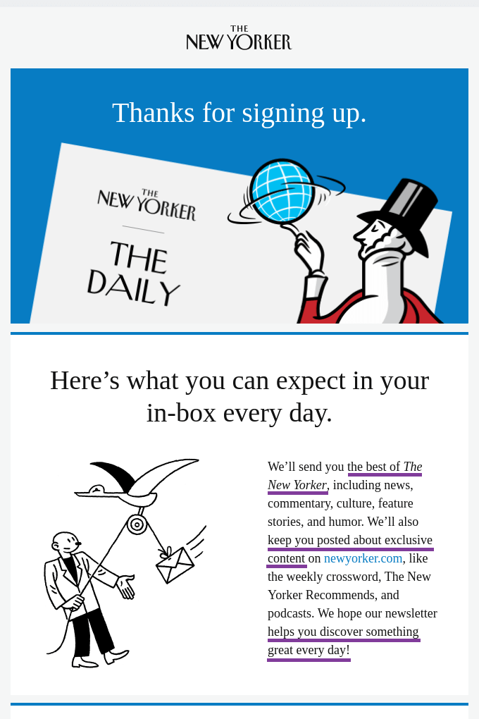 Example welcome email from The New Yorker showing how they explain the benefits to new subscribers