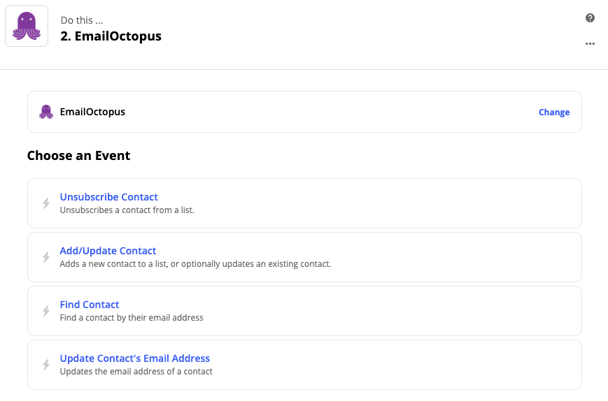 Screenshot of the actions now available in the Zapier integration with EmailOctopus